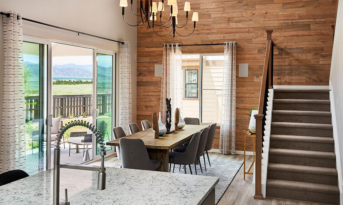 Harmony at Solstice - Kitchen, Dining Room and Patio | Imagine Collection | New Homes In Littleton, CO