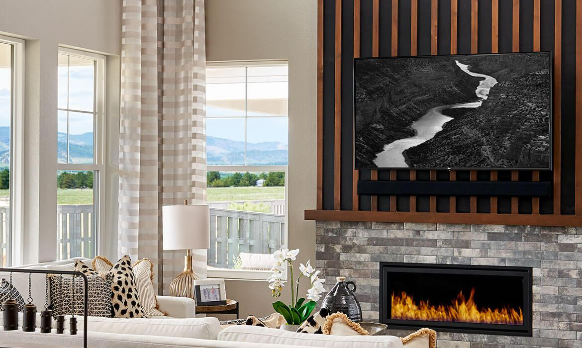 Morningside Model - Great Room Fireplace and Windows | Solstice | A Master-Planned Community Near Littleton, CO